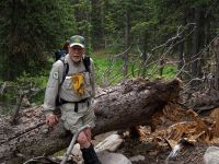 Picture of Chuck Bell flagging a trail in the Rawah Wilderness, July 2009
